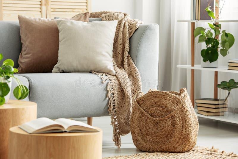 在灰色长沙发的米黄坐垫在现代客厅 免版税库存图片