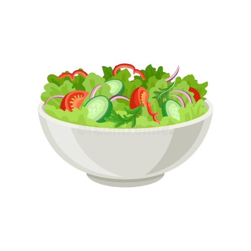在灰色陶瓷碗的新鲜蔬菜沙拉 新鲜和健康食物 素食营养 咖啡馆的平的传染媒介或 皇族释放例证