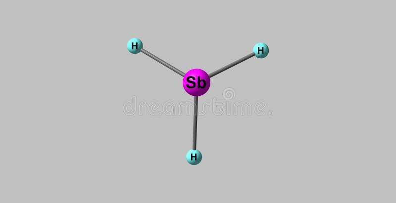 在灰色隔绝的Stibine分子结构 库存例证