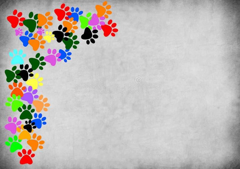 在灰色难看的东西背景的色的pawprints 皇族释放例证