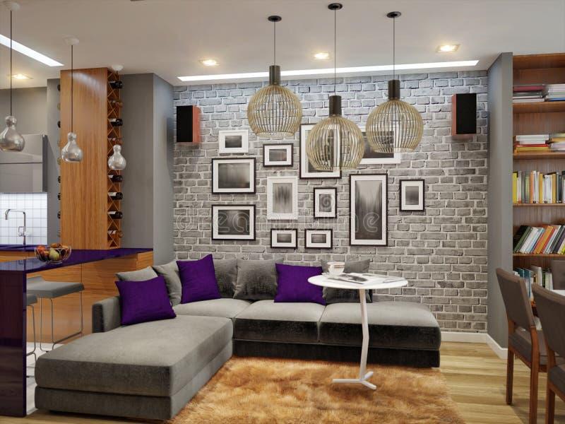 在灰色颜色的现代客厅和厨房室内设计 免版税库存照片
