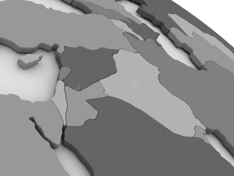 在灰色3D的以色列、黎巴嫩、约旦、叙利亚和伊拉克地区映射 库存例证