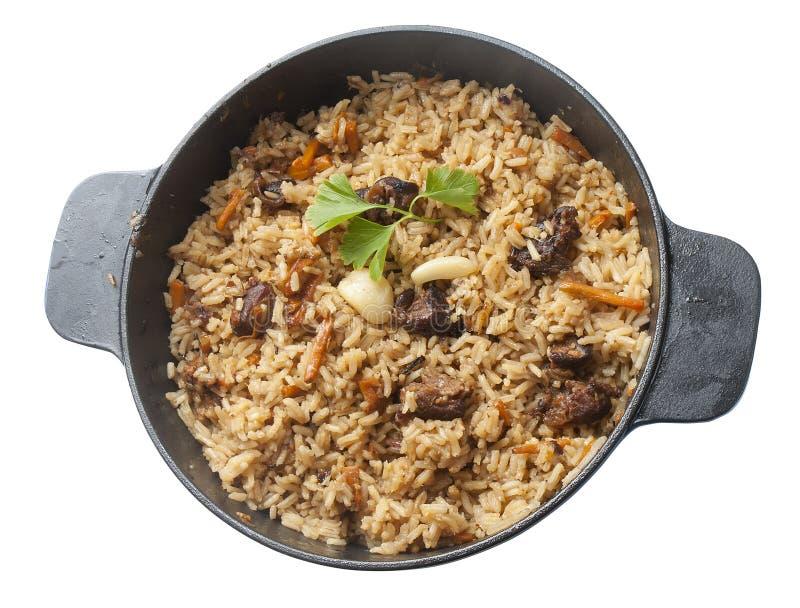 在炖煮的食物平底锅的Pilau 免版税库存图片