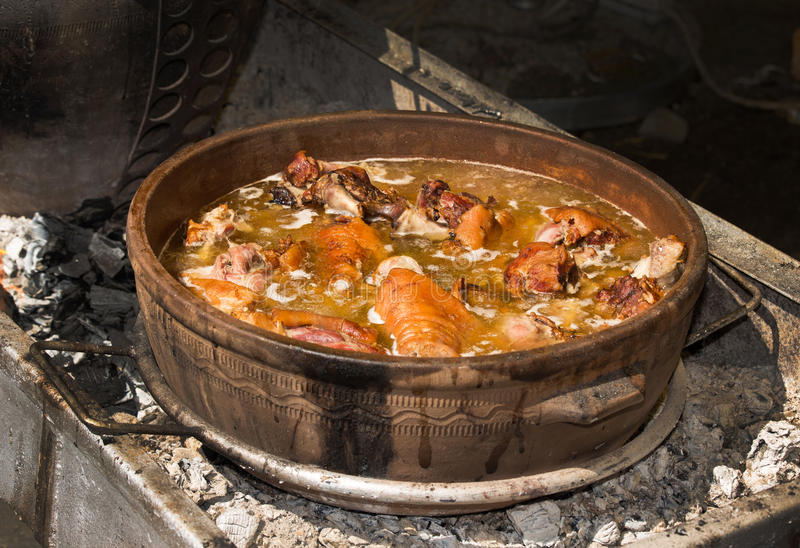 在炖煮的食物的羊羔肉 库存照片