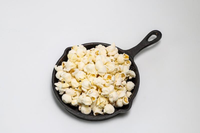 在炸锅的玉米花 库存图片