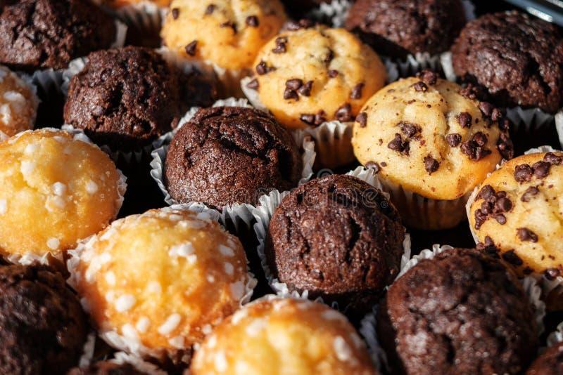 在点心的许多微型松饼冲击-松饼特写镜头- 免版税库存图片
