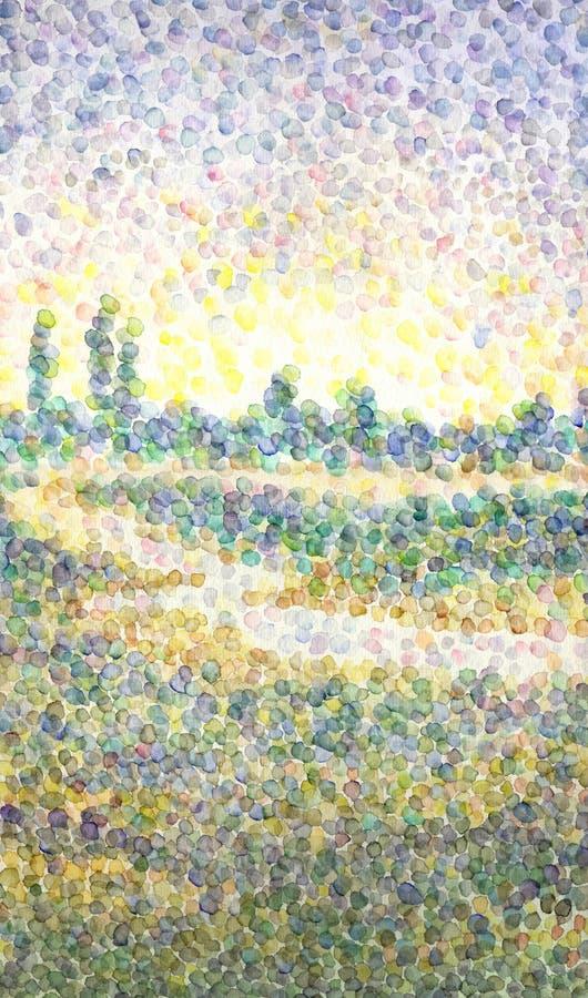 在点画法样式的水彩风景  领域的河 免版税库存图片
