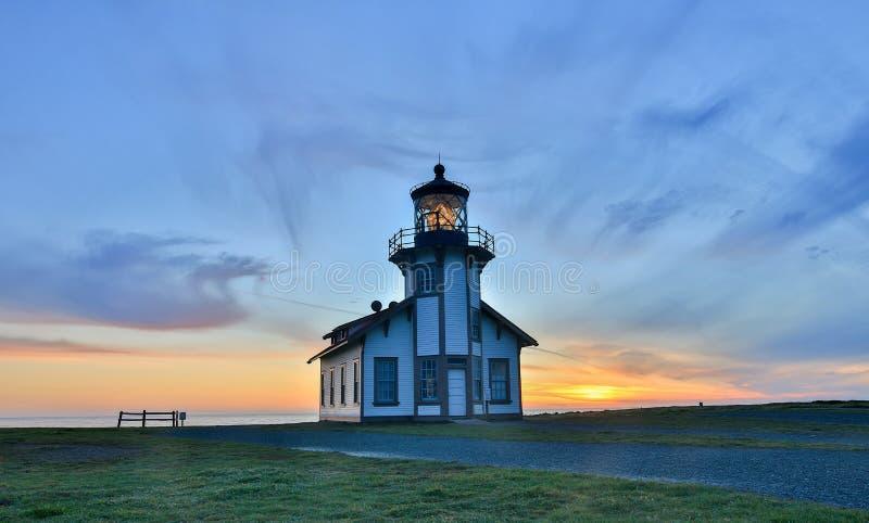 在点Cabrillo光驻地国家历史公园,门多西诺郡,加利福尼亚的日落 免版税库存图片