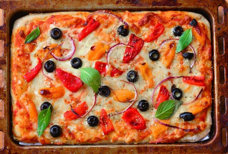 在烘烤的盘子的新近地被烘烤的素食比萨 库存照片