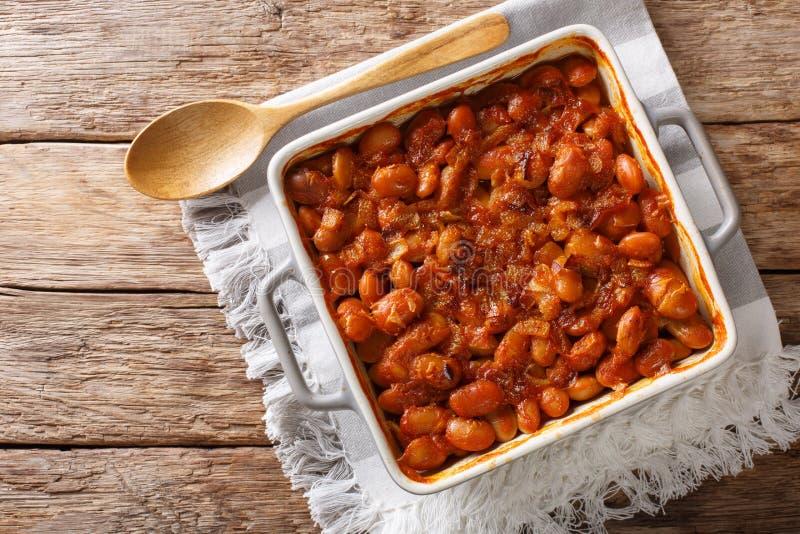 在烘烤盘的被烘烤的辣豆prebranac特写镜头 horizonta 免版税库存图片