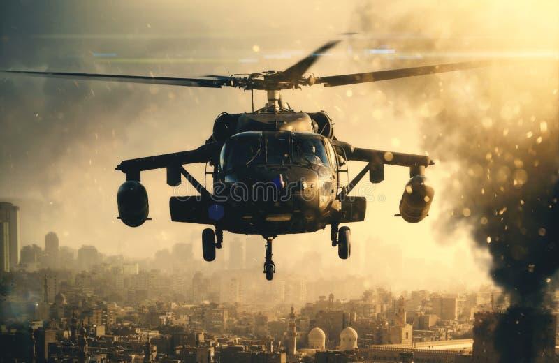 在烟之间的军用直升机在被毁坏的城市 库存图片