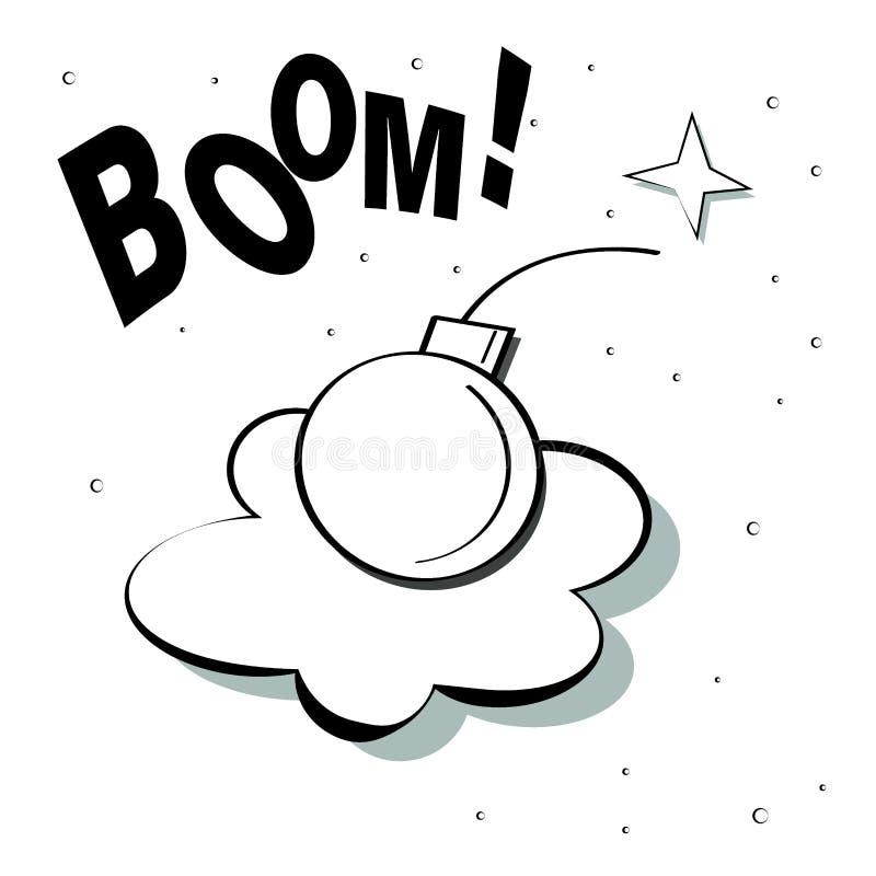 在烟云的炸弹从爆炸whith文本景气和火花的 E 向量例证