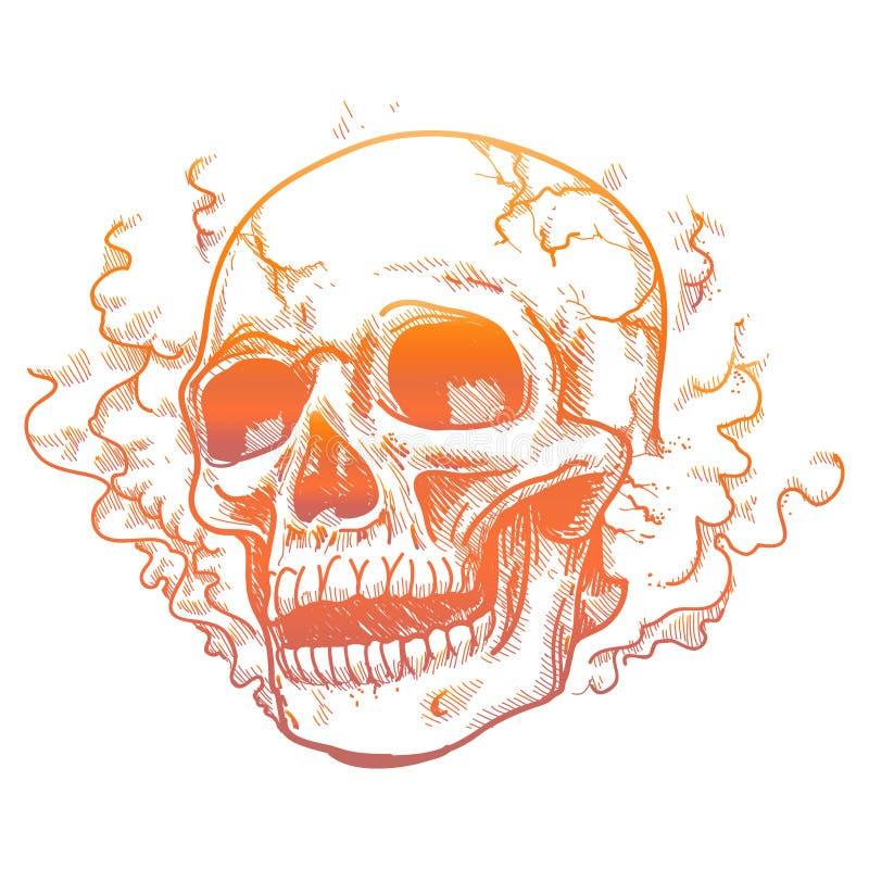 在烟气味的人的头骨 皇族释放例证