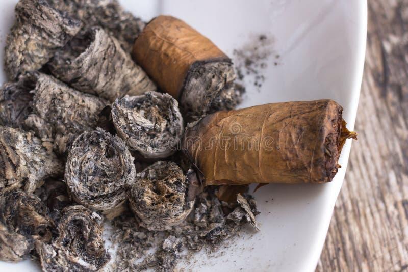 在烟灰缸的未完成的雪茄 库存照片