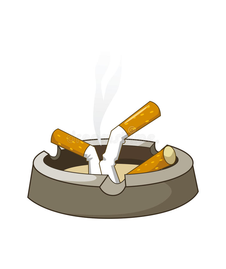 在烟灰缸的Cigaretes 向量例证