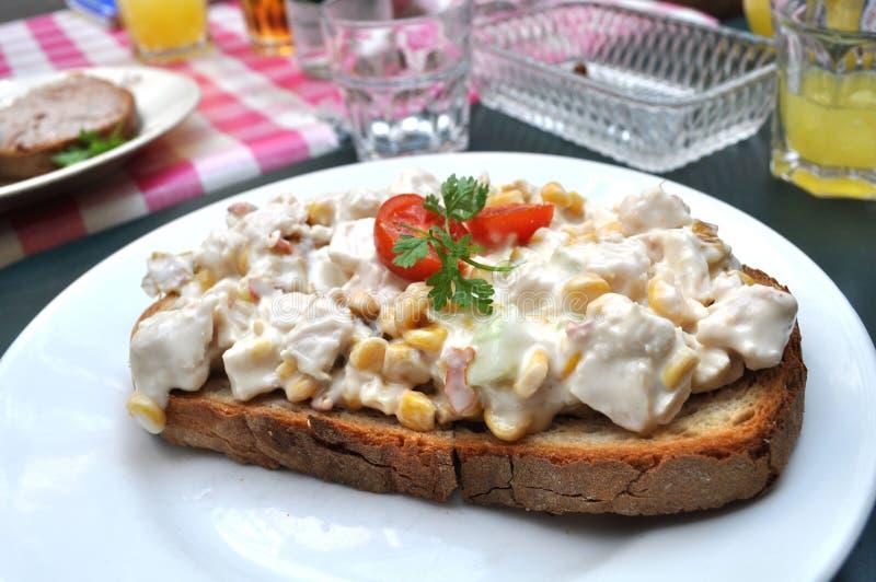 Download 在烤的鸡上添面包 库存照片. 图片 包括有 午餐, 蕃茄, 奶油, 玉米, 片式, 牌照, 辣调味汁, 沙拉 - 15689552
