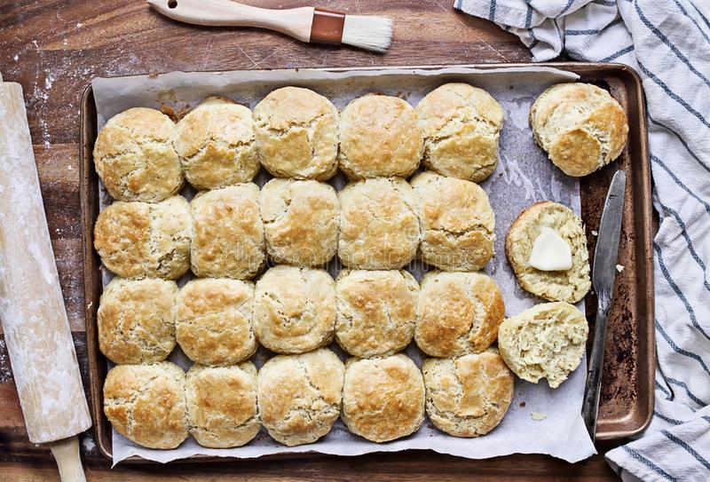 在烤盘的酪乳南部的饼干 图库摄影
