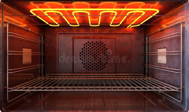 在烤箱前面里面 向量例证