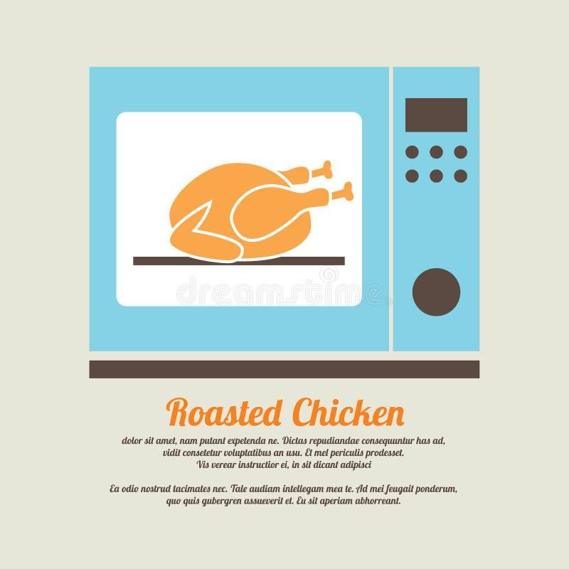 在烤箱的烤鸡 向量例证