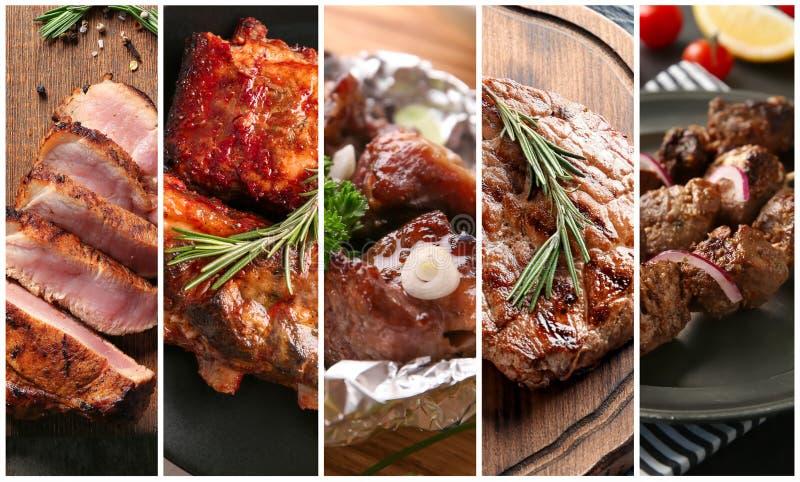 在烤肉格栅烹调的设置鲜美肉 免版税图库摄影