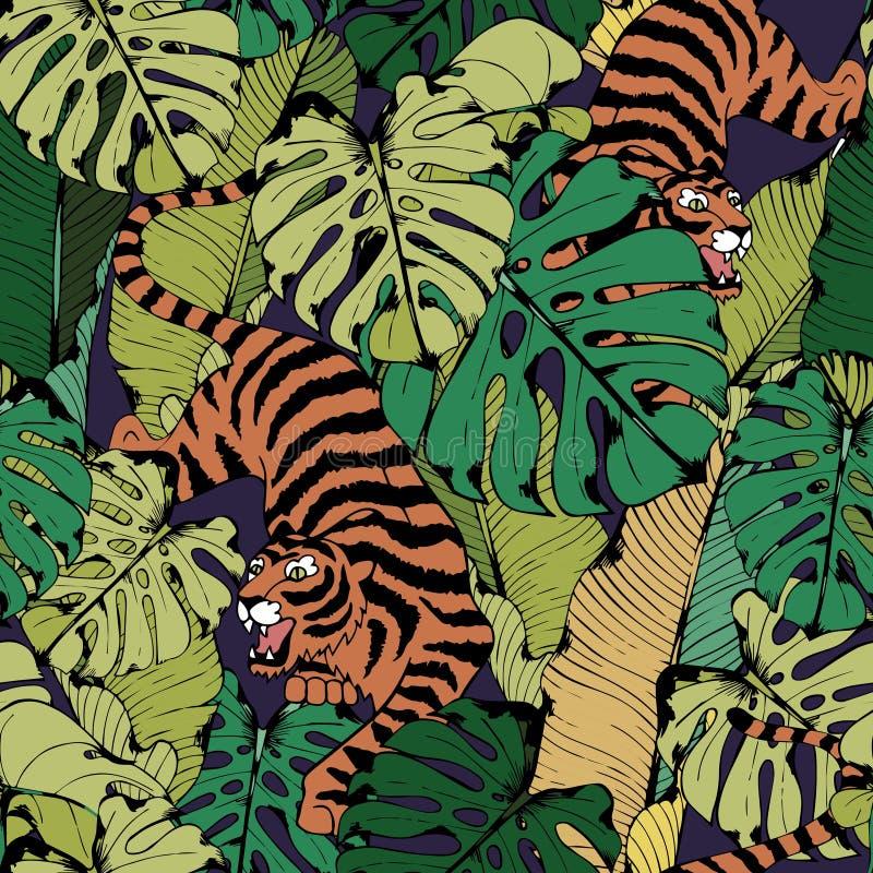 在热带叶子的老虎 蹲下的老虎 模式无缝的向量 库存例证