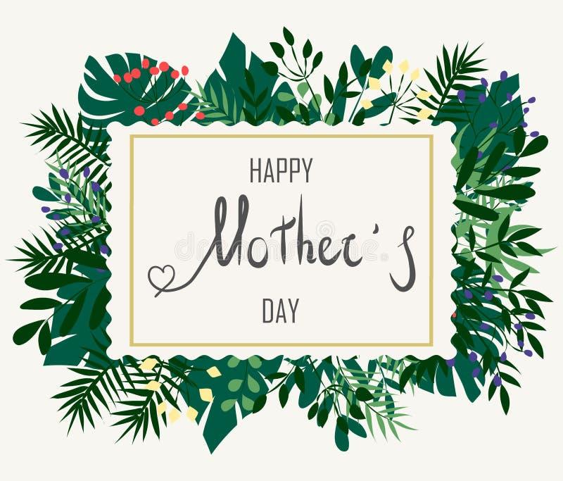 在热带叶子背景的愉快的母亲节 绿色热带 库存例证