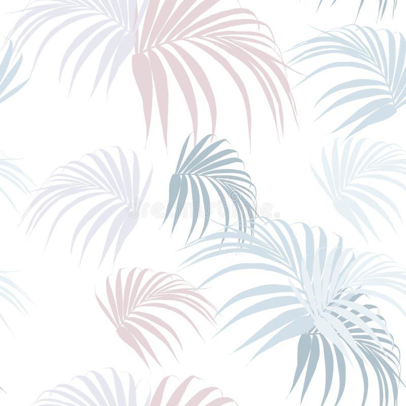 在热带样式的创造性的普遍花卉背景 与棕榈叶的手拉的纹理 皇族释放例证