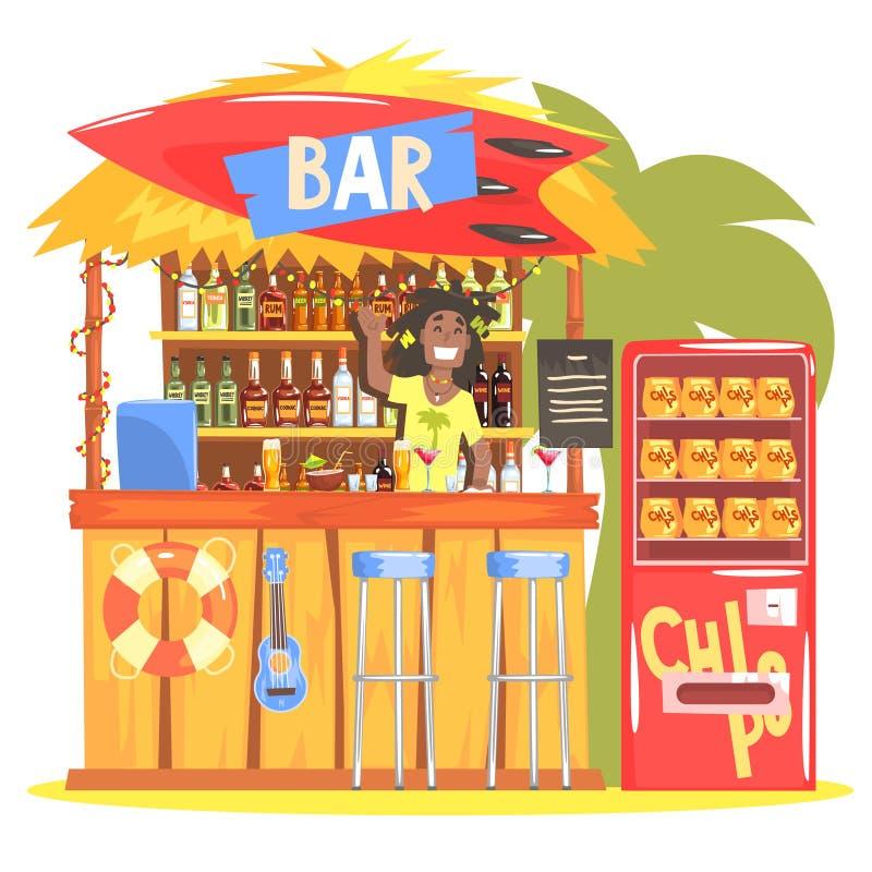 在热带样式设计的海滩酒吧与微笑的Resta男服务员 库存例证