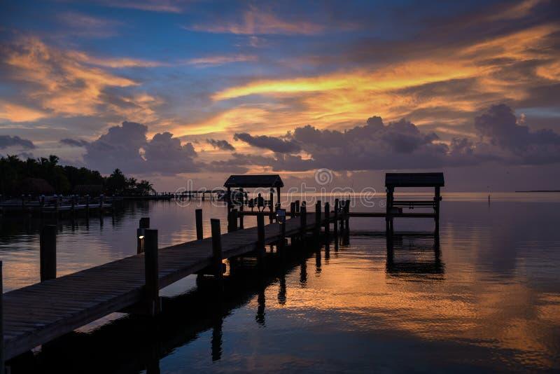 在热带江边地点的日落 库存照片
