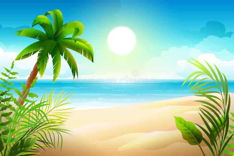在热带沙滩的晴天 棕榈树和海天堂假日 向量例证