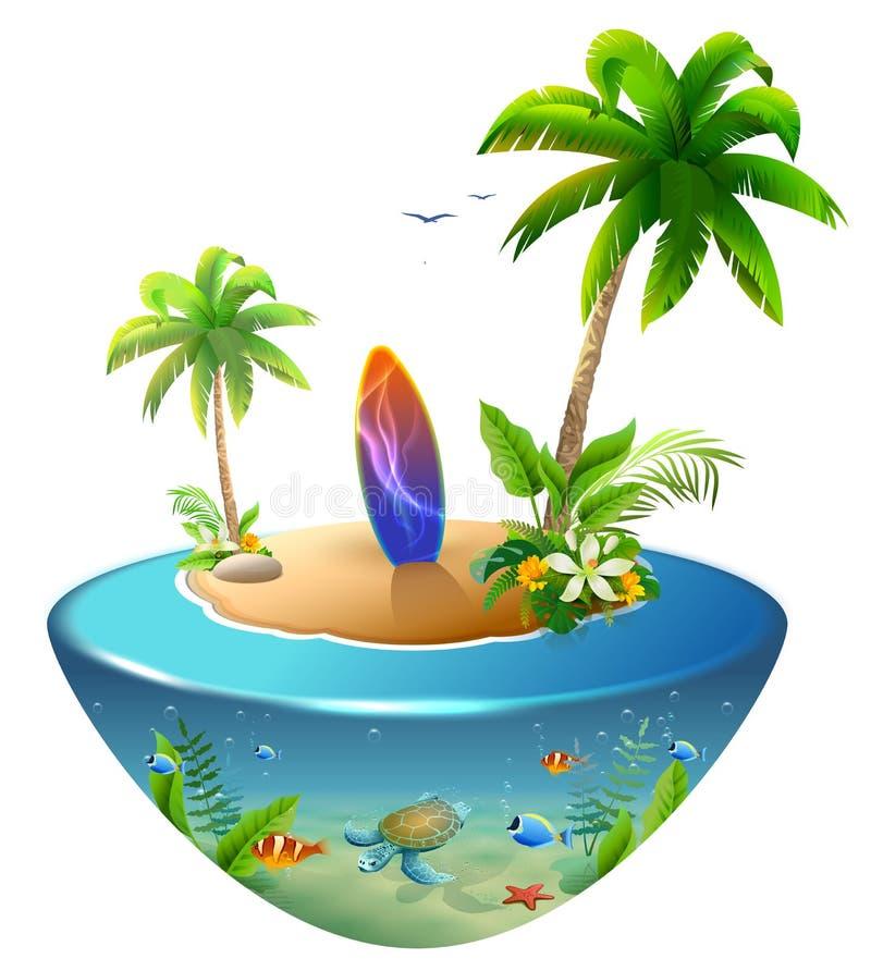 在热带海岛上的冲浪板 棕榈树、海、太阳和沙子天堂海滩  免版税库存图片