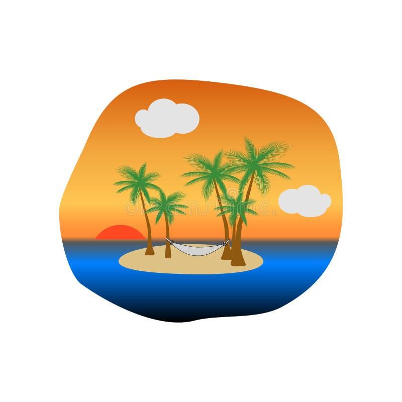 在热带海岛上的日落有棕榈树和吊床的垂悬在树的,传染媒介 向量例证