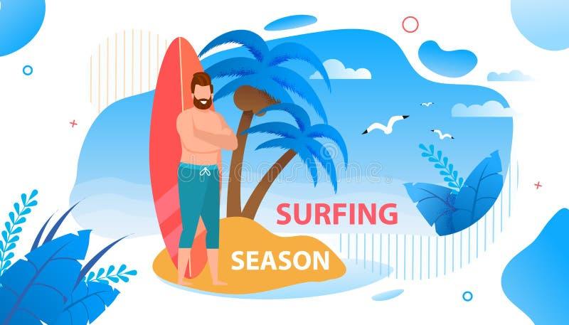 在热带海岛横幅的打开的冲浪的季节 皇族释放例证