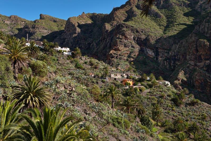 在热带海岛特内里费岛,金丝雀上的山风景在西班牙 库存照片