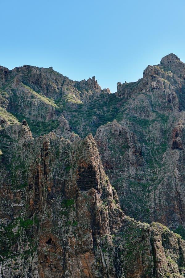 在热带海岛特内里费岛,金丝雀上的山风景在西班牙 库存图片