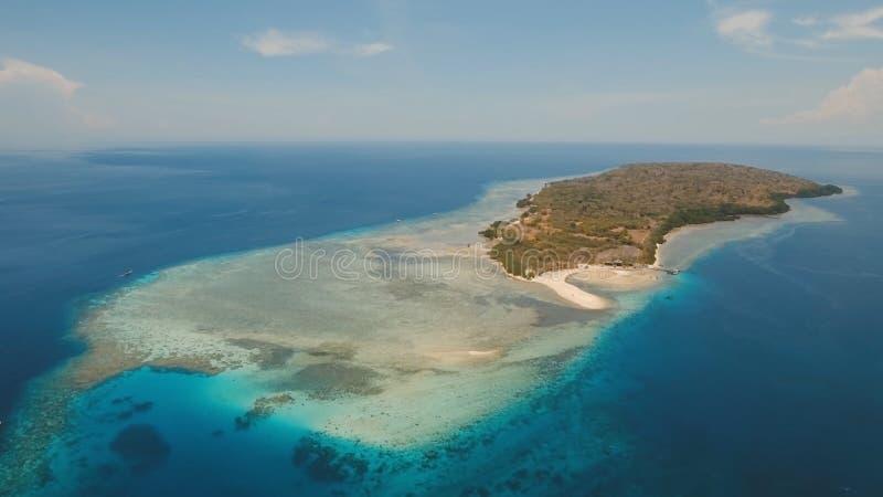 海岛_在热带海岛menjangan上的鸟瞰图美丽的海滩 巴厘岛,印度尼西亚