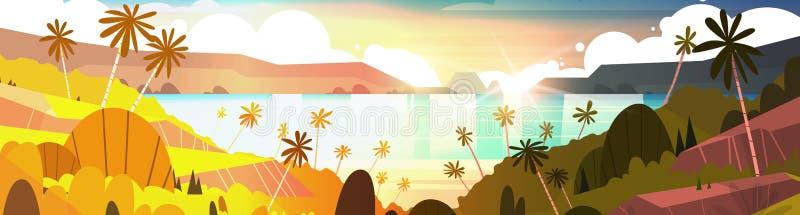 在热带海滩美丽的风景夏天海边的日落与棕榈树水平的横幅 库存例证