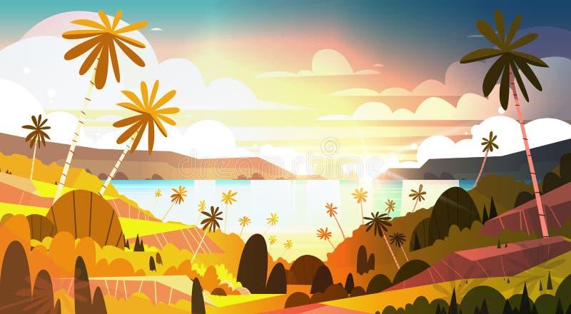 在热带海滩美丽的风景夏天海边的日落与棕榈树海报 库存例证