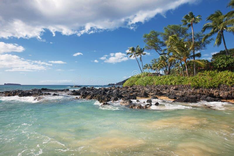 在热带海滩Makena小海湾,毛伊HI的柔和的波浪 库存照片