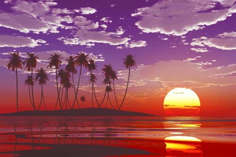 在热带海的日落 库存例证