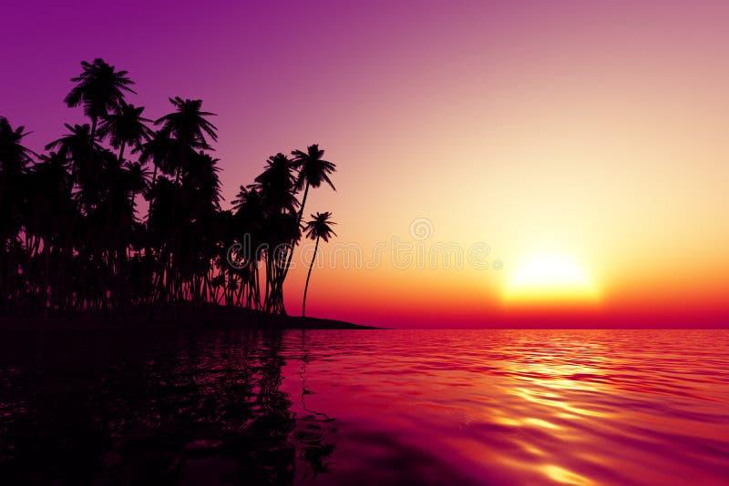 在热带海的橙色日落 免版税图库摄影