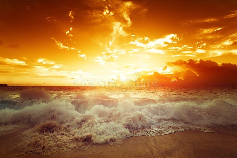 在热带海滩的日落, Mahe海岛 免版税库存图片