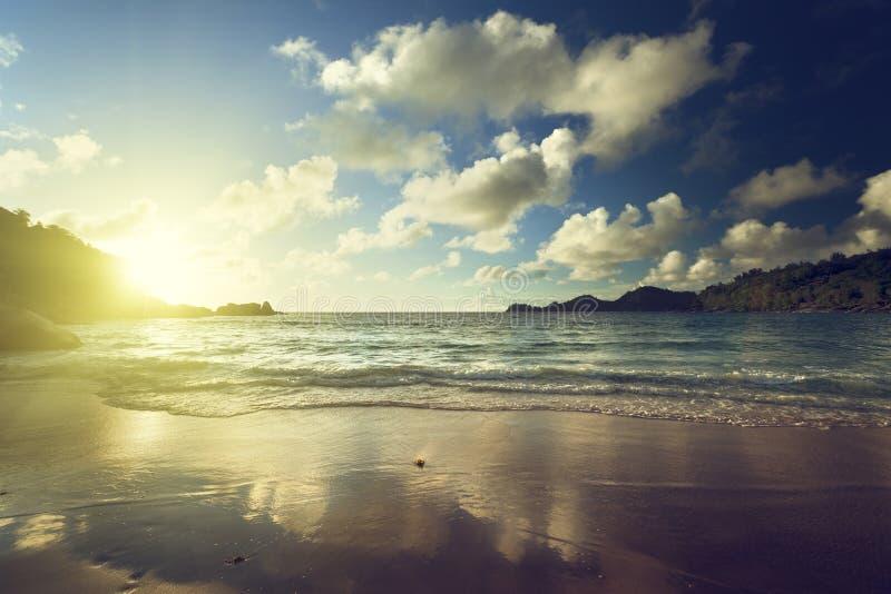 在热带海滩的日落, Mahe海岛 库存照片