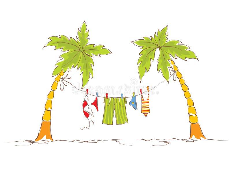 在热带的家庭度假 向量例证