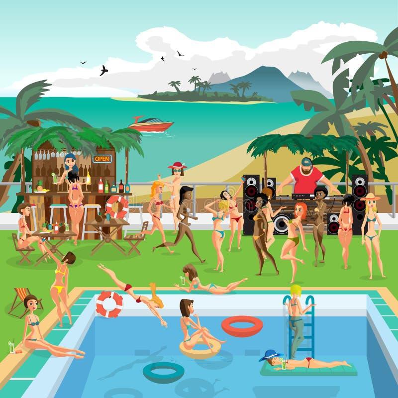 在热带集会在海滩的室外游泳池 库存例证