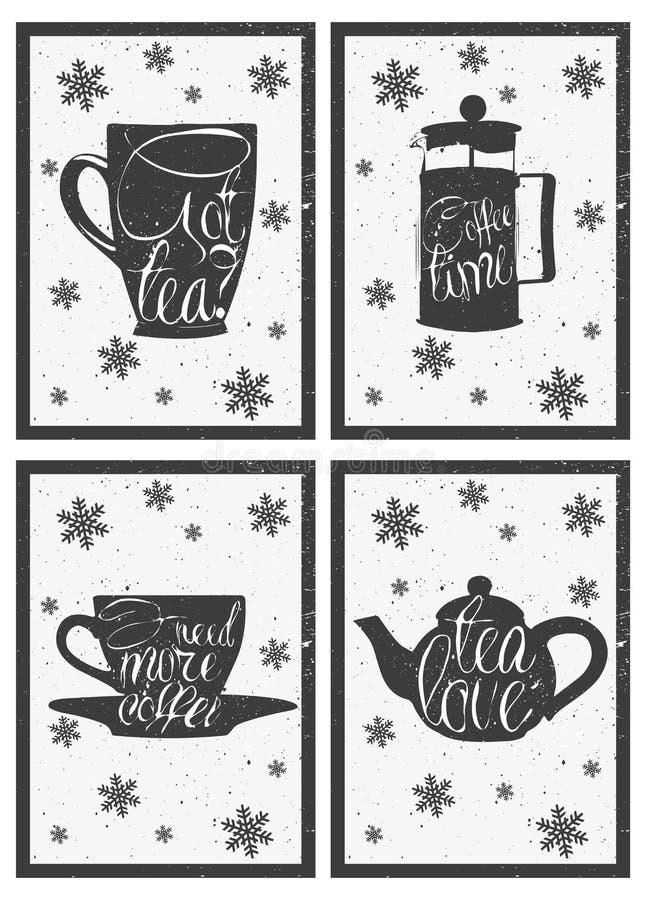在热的咖啡和茶杯的字法 拉长的现有量 向量例证