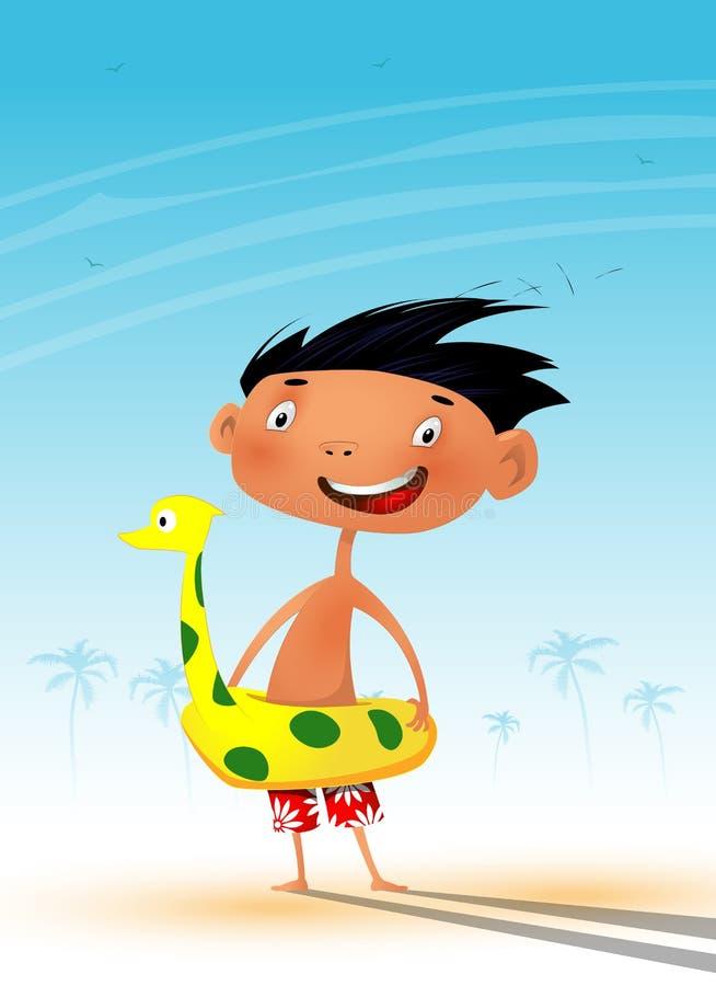 在热的夏天期间,乐趣海滩的动画片孩子 向量例证