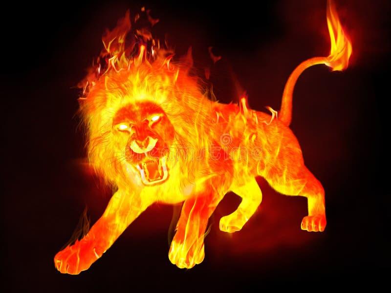 在热的火焰的精神狮子烧发光 皇族释放例证
