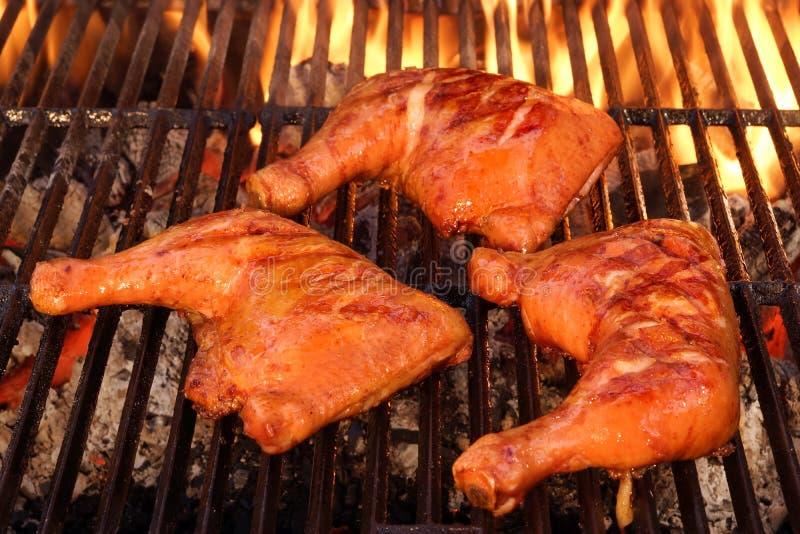 在热的BBQ火焰状格栅烤的三个鸡腿处所 免版税库存图片