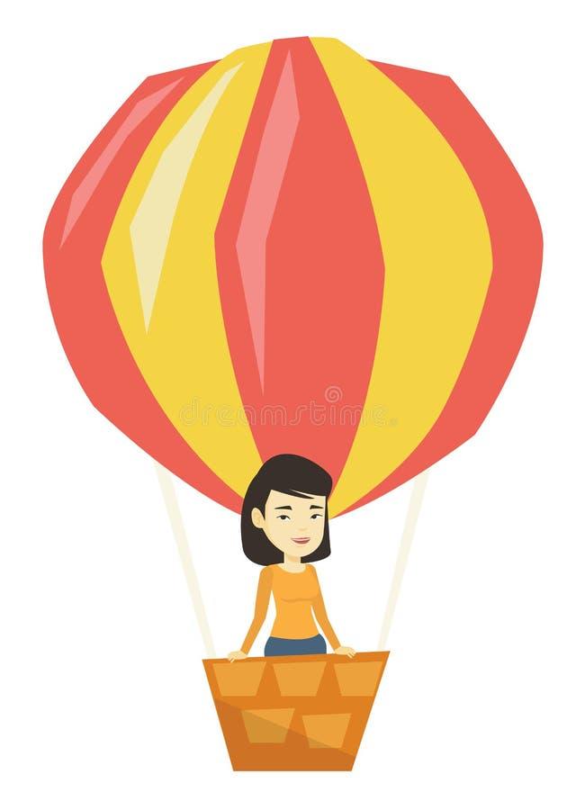 在热空气气球的亚洲妇女飞行 向量例证